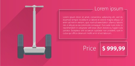 Flat vector illustration of gray personal alternative transport with example text and price on pink background. Vector
