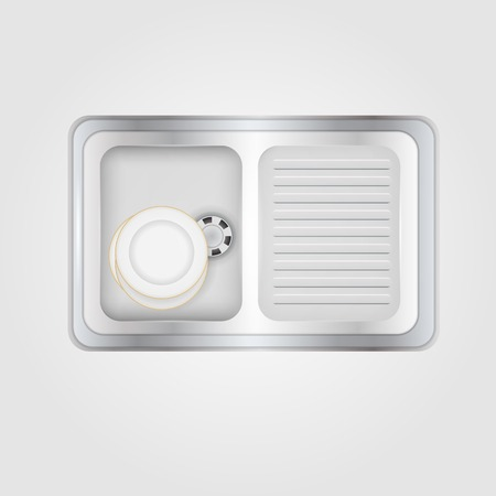 Metallic kitchen sink with white plates a top view. Isolated vector illustration on gray.
