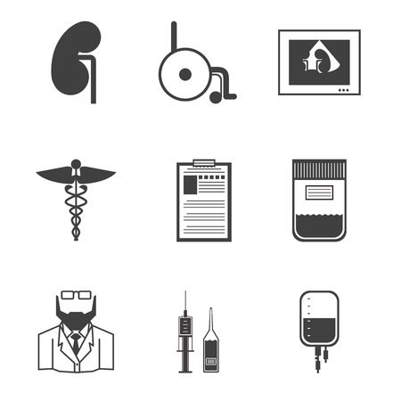 dialysis: Set of black silhouette vector icons for nephrology or nephrologist on white background.