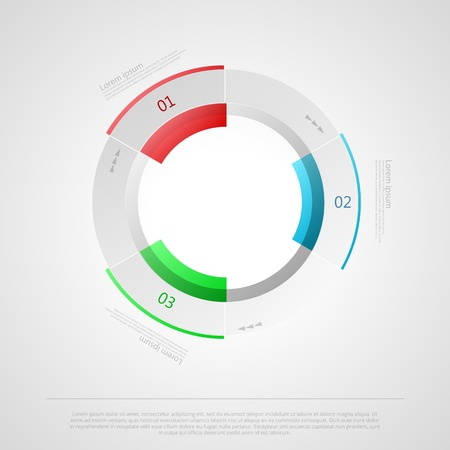 Cycle gray vector infographic for business with colored elements and sample text on gray background. Vector