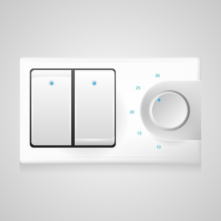 dimmer: White modern double switch with black frame and circle dimmer with blue elements. Isolated vecotr illustration on gray background. Illustration