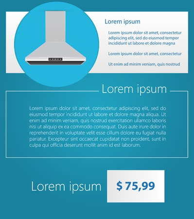 stove top: Flat vector illustration of gray kitchen hood with example text and price on blue background. Illustration