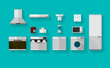nevera: Conjunto de vectores iconos grises planas con electrodom�sticos para la cocina sobre fondo azul. Vectores