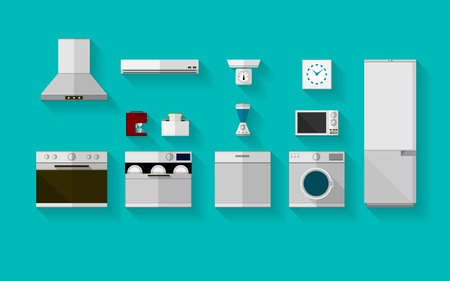 Set of gray flat vector icons with household appliances for kitchen on blue background. Vector
