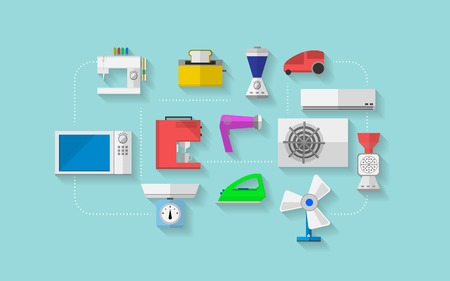 Set of colored flat vector icons with household appliances on blue background. Vector