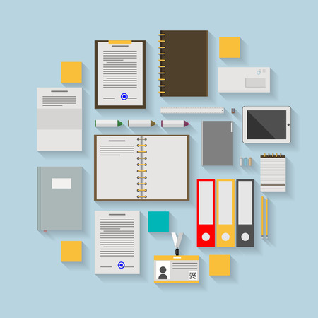 Flat icons colored vector collection of business or office workflow items on blue background. Vector