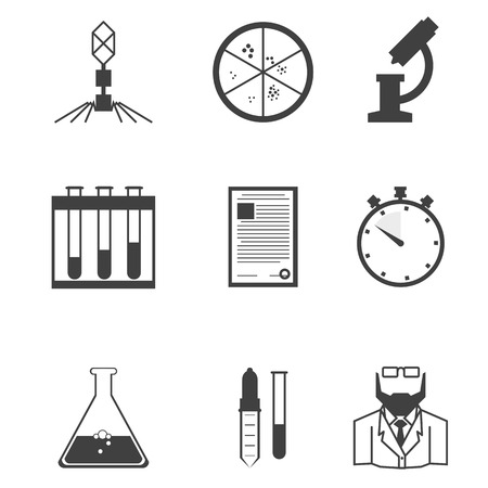 Set of black silhouette vector icons with elements for microbiology laboratory research on white background. Vector