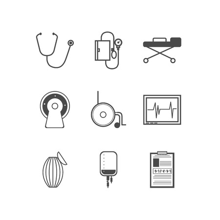 cardioverter: Set of black silhouette vector icons with elements for resuscitation on white background.