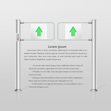 double entry: Double metallic turnstile with indikcators and green arrow entrance sign. Isolated vector illustration on gray background with sample text. Illustration