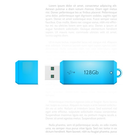gb: Blue opened USB flash memory 128 Gb. Isolated vector illustration on white background with sample text.