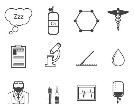 inhalacion: Conjunto de iconos del vector de la silueta de color negro con elementos para la anestesia en el fondo blanco.