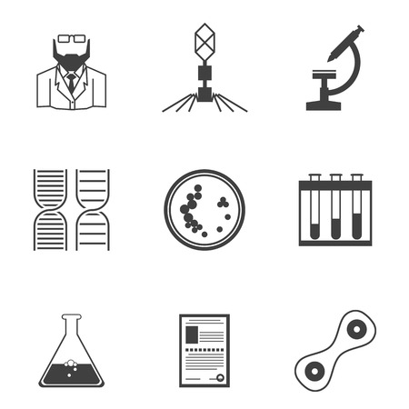 Set of black silhouette vector icons with elements for bacteriology research on white background. Vector