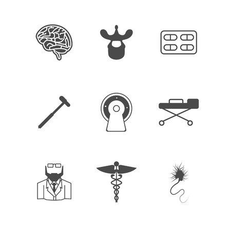 meningitis: Set of black silhouette vector icons with elements for neurology on white background. Illustration