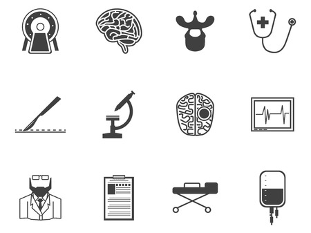 Set of black silhouette vector icons with elements for neurosurgery on white background.