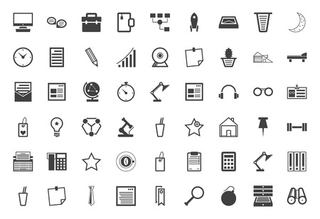 Set of 54 business and freelance black icons on white background. Vector