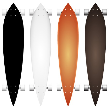 skatepark: collection of mock up for colored leaf form long boards with white wheels. Four isolated illustrations on white. Illustration