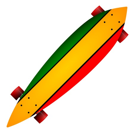 skatepark: Leaf form wooden long board with red, yellow and green stripes and red wheels. Single isolated illustration on white background. Illustration