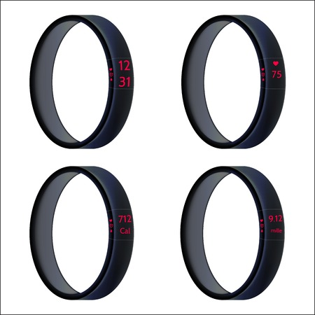 Set of four black smart wristbands with red symbols. Isolated illustrations on white background. Vector