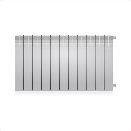warmness: Single gray water radiator. Isolated illustration on white background. Illustration