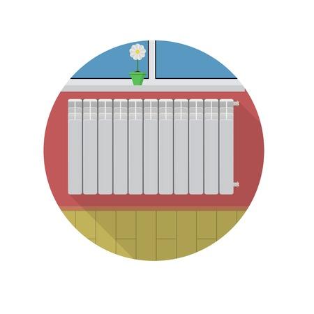 bimetallic: Heater radiator over windowsill and flower pot. Flat circle colored icon on white background. Illustration