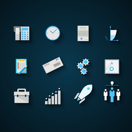 command structure: Set of colored flat vector icons for web business startup on blue background. Illustration