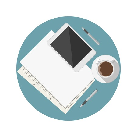pen tablet: White coffee cup, tablet and note sheets with two pens on blue table a top view. Flat circle colored vector icon for blog on white background.