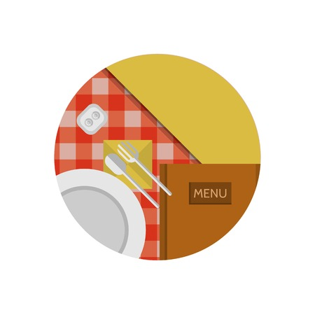 top menu: Table setting with white plate and cutlery and brown menu on the table with checkered red tablecloth a top view. Flat circle colored vector icon for cafe or restaurant or other catering on white background.