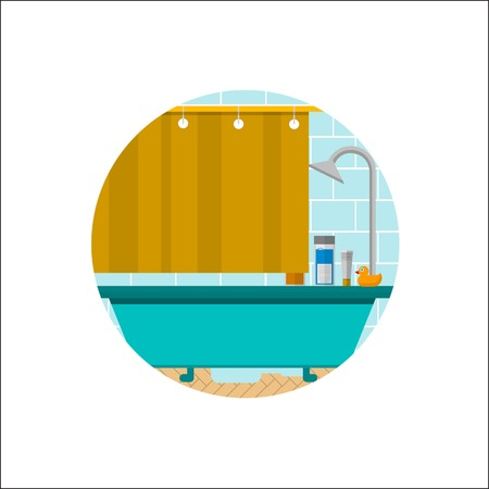 shower curtain: Blue bath with gray metallic shower, yellow curtain, duck and cosmetics. Blue tile wall. Flat circle colored vector icon for bathroom on white background.