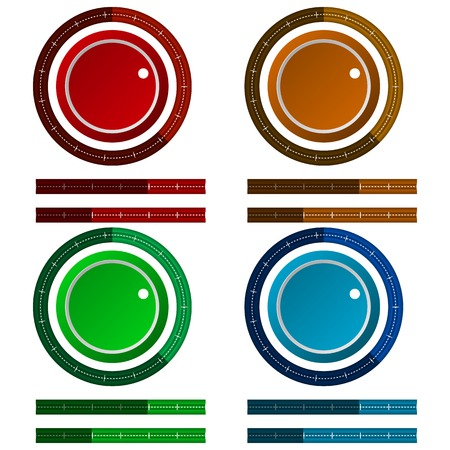 Set of colored vector icons for adjustment or control scale on white background. Vector