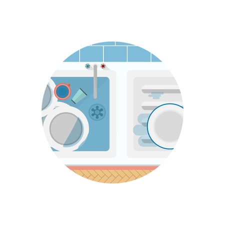 unwashed: White metal kitchen sink with unwashed dishes and one clean plate a top view. Flat circle colored vector icon for kitchen on white background. Illustration