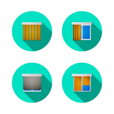 casement: Set of circle colored flat icons for windows with jalousie, louvers or shutters on white background. Illustration