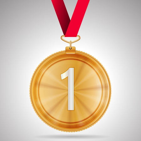 Gold winner first place medal with red ribbon. Isolated illustration on gray background. Vector