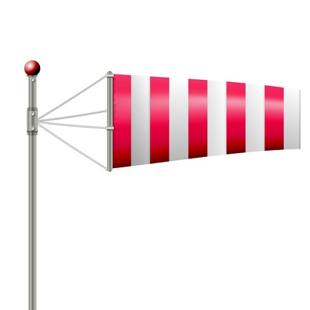 vane: Single red striped windsock by wind. Isolated vector illustration on white. Illustration