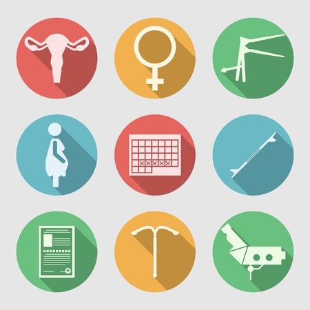 menstruacion: Conjunto de c�rculos de colores iconos vectoriales plana con s�mbolos silueta blanca de Obstetricia y Ginecolog�a en el fondo gris. Vectores