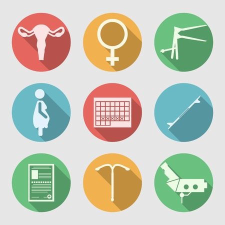 gynecologist: Set of colored circle flat vector icons with white silhouette symbols for Obstetrics and Gynecology on gray background. Illustration