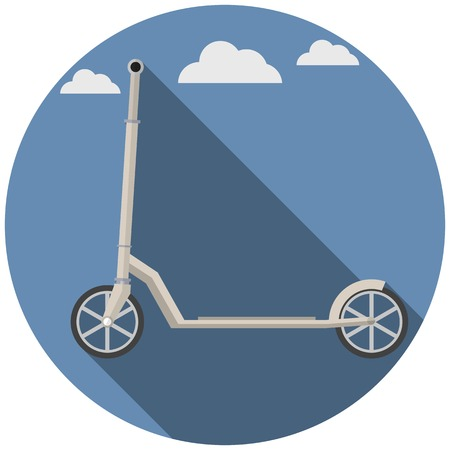 Flat circle vector icon with gray kick scooter on blue sky background Vector