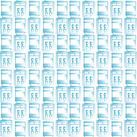 Seamless vector pattern with blue sketch water coolers on white background.