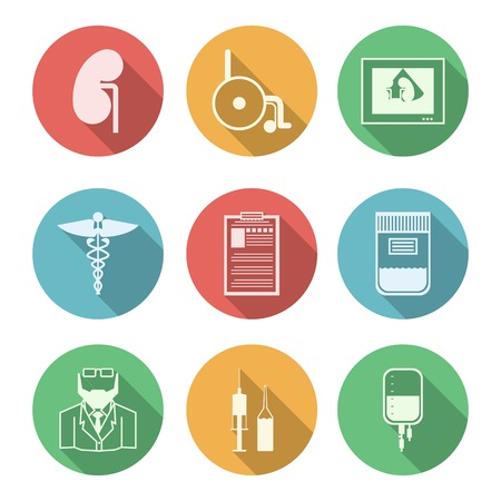 nephrology: Colored circle icons vector collection of black signs for nephrologist or nephrology on white background.