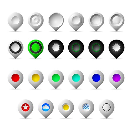 Icons vector collection of different markers geolocation - gray empty, black, colored and with weather symbols. Isolated on white background. Vector