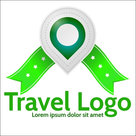 geolocation: Gray geolocation marker with green elements and green ribbons with stars and with words Travel  Icon. Isolated vector illustration on white background with sample text.