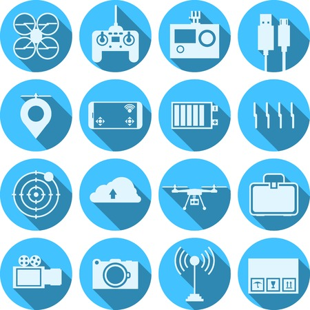Flat blue circle icons vector collection of components and equipment for quadrocopter with light blue silhouette signs with long shadow effect on white background. Vector