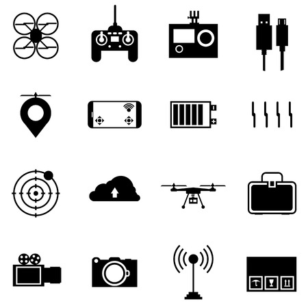 Black silhouette icons vector collection of components and equipment for quadrocopter on white background.