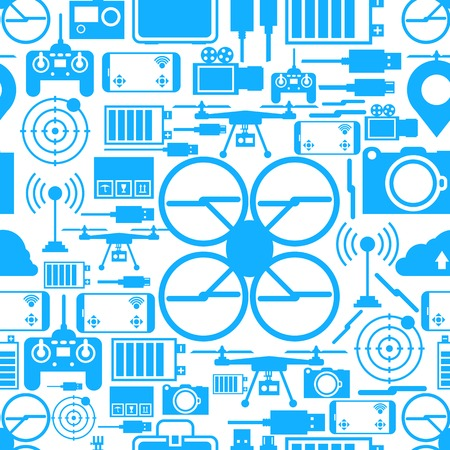 seamless vector: Blue silhouette quadrocopter set elements on white background. Seamless vector pattern. Illustration