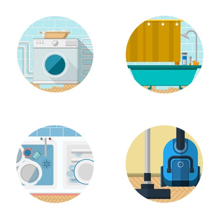 Set of circle colored flat vector icons for domestic life with some home interior and appliances elements. Vector