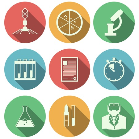 Set of colored circle vector icons with blach silhouette elements of microbiology on white background. Vector