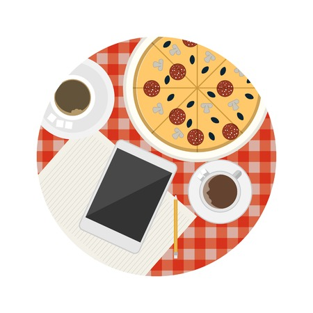 pizza place: Two coffee cups, tablet, note with pencil and pizza on the table with checkered red tablecloth a top view. Single circle colored flat vector icon for business lunch or coffee break of meeting.