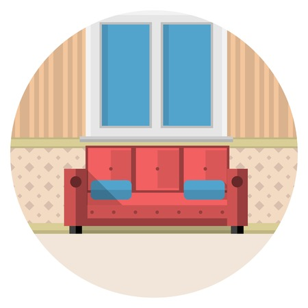 view of an elegant red couch: Red sofa with two blue pillows under the window with white frame in living room with striped wallpaper. Flat circle vector icon on white background.
