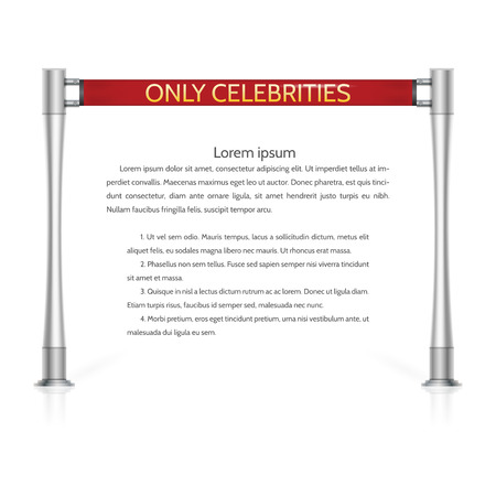 celebrities: Red ribbon rope barrier with silver racks and golden words Only Celebrities. Isolated vector illustration on white background with sample text.