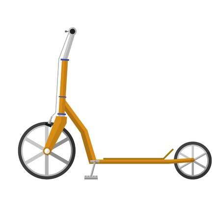 scooter: Yellow electrical kick scooter with gray handles and brake cables a front view. Flat design vector illustration isolated on white background.