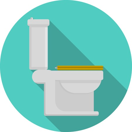 Gray toilet pan with yellow closed seat a side view. Flat blue circle vector icon with long shadow on white background.